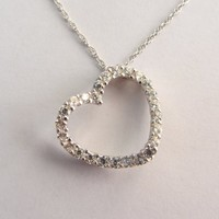 "Sparkly ! 14k Solid White Gold Undulating Diamonique CZ Heart Pendant Necklace With Extension Chain - 18""& 3 1/8""- 3.23g"