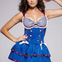 Blue Striped Bandage Ruffled Skater Mini Sailor Dress Costume