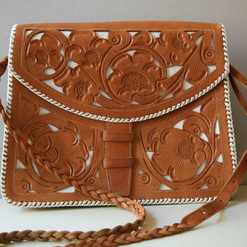 Guatemalan Stencil Tan Leather Handbag