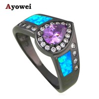 Purple Zirconia Rings for teen girls Blue Fire Opal Silver Stamped Anniversary Fashion Jewelry Rings USA Size #6#7#8#9 OR806A