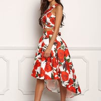 Ivory and Coral Lustrous Rose Hi-Lo Pleated Skirt