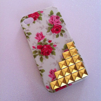 Vintage Floral x Gold Studs iPhone 4 4s Case
