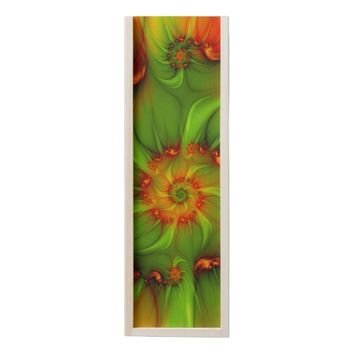 Hot Summer Green Orange Abstract Colorful Fractal Wooden Keepsake Box