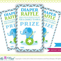 Blue Boy Chevron Diaper Raffle tickets for a boy baby shower. Elephant on ball green, blue,grey-oz01
