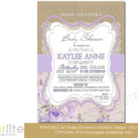 Baby Shower Invitation - Girl Burlap lace lilac beige floral - 5x7 vintage style, typography, unique baby shower invitation - You Print