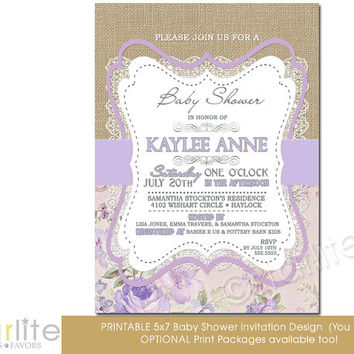 Best burlap and lace baby shower invitations products on wanelo baby shower invitation girl burlap lace lilac beige floral 5x7 vintage style typography filmwisefo Image collections