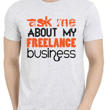Ask Me About Business Half Sleeves Melange T-shirt
