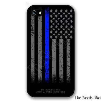 Thin blue line American flag and quote iPhone 4, 5, 5c, 6 and 6 plus and Samsung Galaxy s3, s4 and s5 phone case
