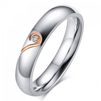 One Piece Love Puzzles Silver Plated Rhinestone Ring - Rose Gold