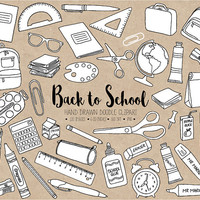 SALE. Back To School Clipart. Hand Drawn Digital School Clip Art. Black & White Doodle Stationery, Backpack, Paint, Ruler Office Clipart.