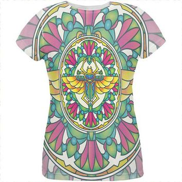 LMFCY8 Mandala Trippy Stained Glass Scarab All Over Womens T Shirt