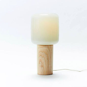Atomic Table Lamp // hand blown glass // Wood light // atom bomb // hometown homage // little boy //
