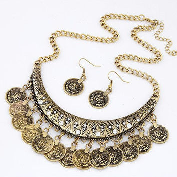 Tuareg Style Boho Coin Statement Bib Necklace + Earrings
