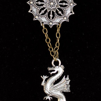 Dragon Necklace with Filigree Medallion on a Brass Chain Choker