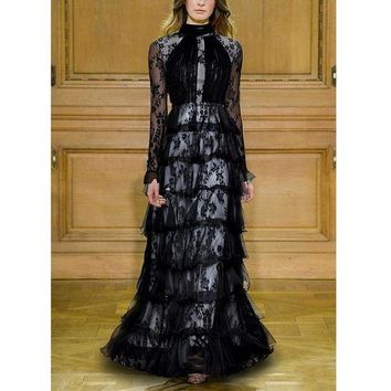 DCCKON3 RED ROOSAROSEE 2018 New Long Flare Sleeved Lace Perspective Cake Dress Princess Style Dress Female Floor Length Black Maxi Dress