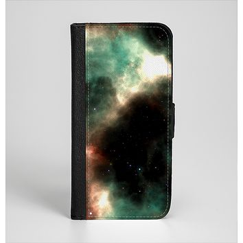 The Dark Green Glowing Universe Ink-Fuzed Leather Folding Wallet Case for the iPhone 6/6s, 6/6s Plus, 5/5s and 5c