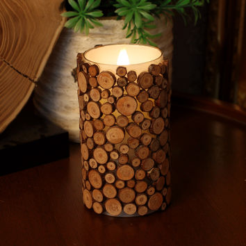 Wood Pattern Glass Mosaic Moving Wick Flameless Led Candle With Timer, Home Decorations, 3 X 6 Inch, Brown