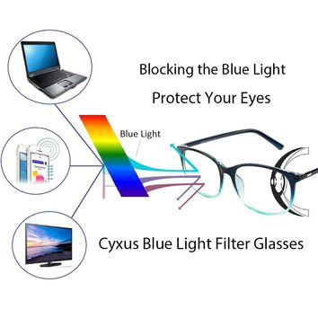 Cyxus Blue Light Filter Computer Glasses for Blocking UV Headache [Anti Eye Fatigue] Transparent Lens Unisex (gradient bulish green)