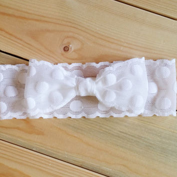 Lace Bow Headwrap - Stretch Lace Bow Headband - White Dotted Bow