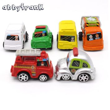 Abbyfrank 6pcs in 1 bag Mini Hot Wheels Toy Car Model Miniature Car Toy Pull Back Bus Truck Toys For Boy Gifts Hot Wheels Track