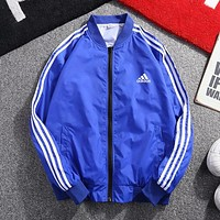 Adidas Popular Print Zipper Cardigan Sweatshirt Jacket Coat Windbreaker Sportswear Blue