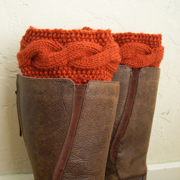 Orange legwarmers - orange cable knit boot toppers - legwarmers - winter 2014