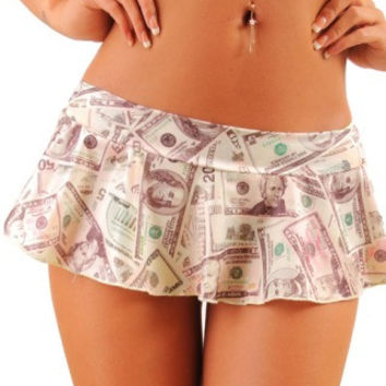 Money Print Dancers Ruffle Skirt