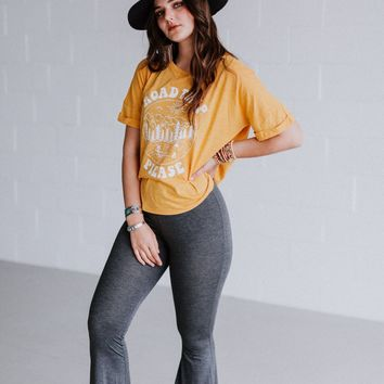 Easy Wanderer OOTW Graphic Tee and Flare Pant Set - Charcoal