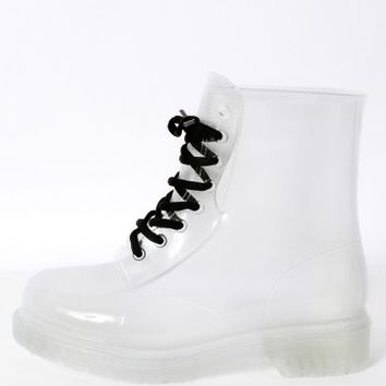 Stu-01 Clear Lace Up Jelly Combat Boots | MakeMeChic.com