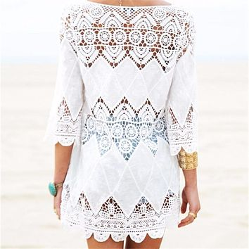 New Arrivals Beach Cover up Rayon White Swimwear Tunic Ladies Robe de Plage Pareos For Women Pareo Bathing Suit Cover ups