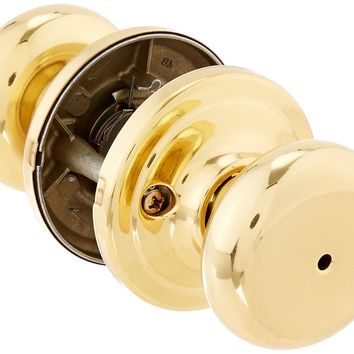 Kwikset 730J 3 CP Juno Bed/Bath Knob, Polished Brass