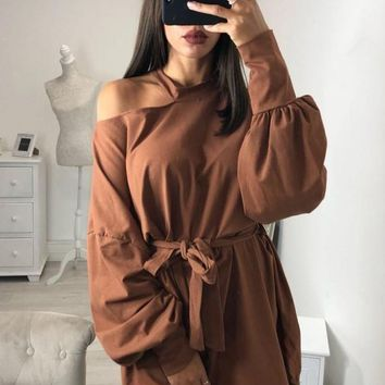 New Brown Cut Out Sashes Long Sleeve Fashion Pullover Sweatshirt