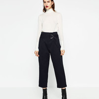 COTTON TROUSERS WITH BUCKLE DETAILS