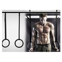 Fitness Training OLYMPIC Gymnastics Crossfit Rings with Suspension Straps Black