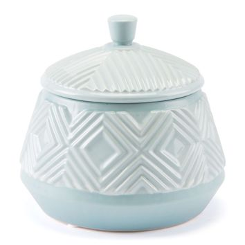 Herringbone Lid Jar Blue