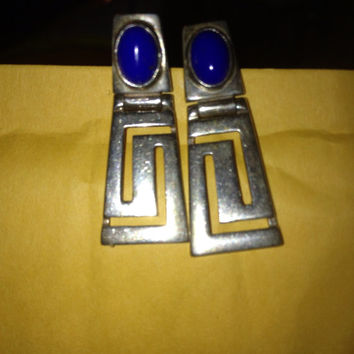 Inca Earrings Blue Lapis Sterling Silver 925 Jewelry 1960s 60s Vintage Southwestern Indian