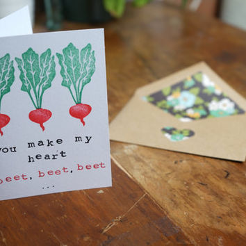 Hand Stamped Greeting Card, Foodie Card, Handmade, Custom Envelope, Funny Card, Lovers Card, I Love You Card, Gifts for Men, Beet Card