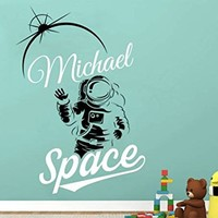 Cosmonaut Name Wall Decals Personalized Boys Name Astronaut Decal Vinyl Sticker Outer Space Nursery Decor Playroom Interior Bedroom NV186