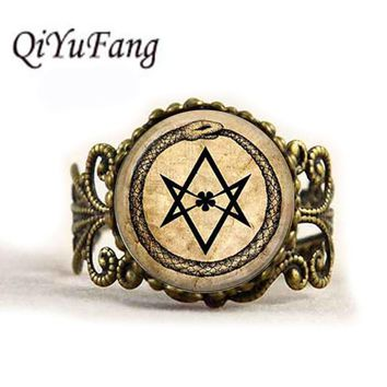 QiYuFang ouroboros hexagram snake Ring Pendant Handmade Jewelry occult magic eternity alchemical crowley Glass Rings Men Women