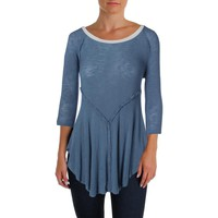 Free People Womens Knit Raglan Sleeves Tunic Top