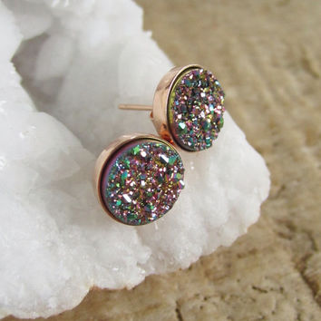 NEW Peacock Druzy Studs Titanium Drusy Quartz Earrings Rose Gold Vermeil Bezel Set