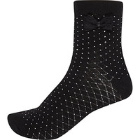 River Island Womens Black spotted bow ankle socks