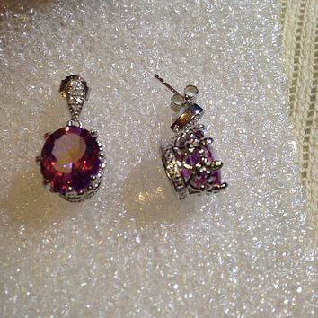 Nemesis Vintage Handmade 925 Sterling Silver Deep Pink Mystic Topaz earrings