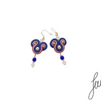 Delicate, handcrafted, soutache earrings, unique pearls jewelry, blue, salomon,