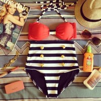 Seduction High Waist Swimsuit - Red Top and Black & White Striped Bottoms - Smoky Mountain Boutique