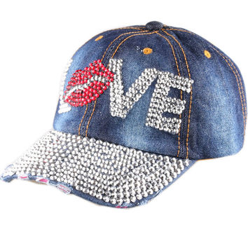 CRUOXIBB Fashion Women Snapback Caps cute crystal handmake love letter Lips Cotton hat Baseball Cap