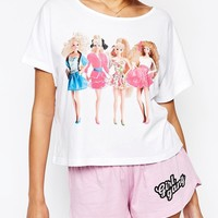 ASOS Barbie Girl Gang Short & Tee Pyjama Set