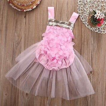 Rosette Pink and Gold Sequin Baby Romper with Tulle Skirt