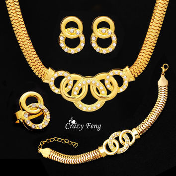 Statement Vintage Exaggerate18K Gold Plated Austrian Crystal Necklace Earrings Bracelet Ring Round Clasp Round Jewelry Sets