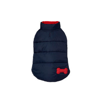 Reversible Bone Puffer Dog Jacket by Fab Dog - Navy/Red